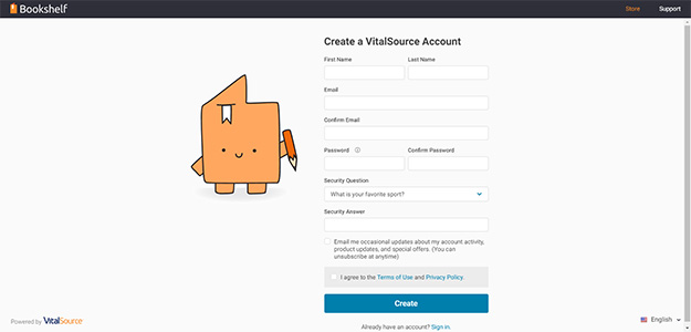 Form for creating a VitalSource account.